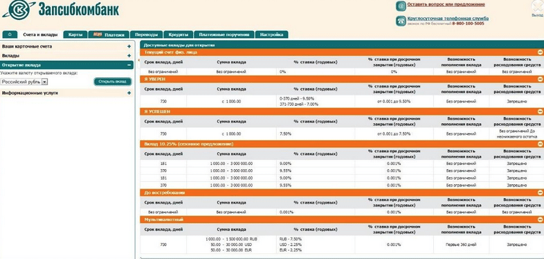 Открытие вклада через интернет-кабинет Запсибкомбанка Тюмень